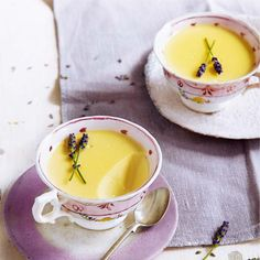This easy recipe for lemon and lavender possets takes only 5 minutes to make. Chill until the dessert sets.
