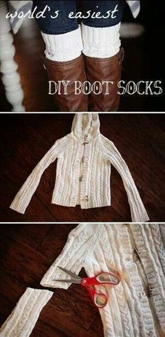 DIY boot socks - an old sweater or a cheap one from a thrift store! Boot Cuffs, Boot Socks, Alter Pullover, Diy Vetement, Do It Yourself Fashion, Old Sweater, Sweater Boots, Creation Couture, Diy Clothing