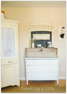 Creating a life summer living room white dresser old tool box crib