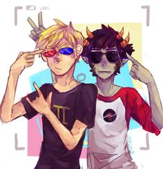 homestuck brOTP --- yeah this pic is adorable but the only things that have in common are karkat and weird eyes/glasses