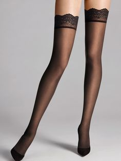 """Luxurious stay up stocking with a sheer look. Soft to touch, these tights have a sexy and seductive feel. A hosiery """"essential"""" for that special outfit. Stockings Outfit, Fishnet Stockings, Black Stockings, Bas Sexy, Lace Socks, Wool Socks, Pantyhose Heels, Heels Outfits, Sheer Tights"""