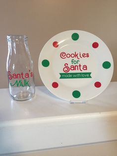 Cookies for Santa plate with matching Santa's Milk glass - Small Plate Set - Santa's Cookies and Milk
