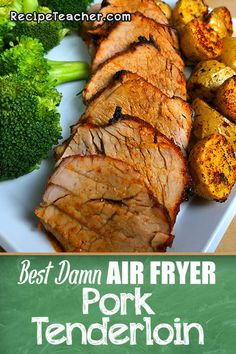 The Best Damn Air Fryer Pork Tenderloin. Unbelievably juicy and tender and cooked to perfection. The Best Damn Air Fryer Pork Tenderloin. Unbelievably juicy and tender and cooked to perfection. Air Fryer Recipes Chips, Air Frier Recipes, Air Fryer Dinner Recipes, Air Fryer Recipes Easy, Recipes Dinner, Breakfast Recipes, Dinner Ideas, Pork Recipes, Cooking Recipes