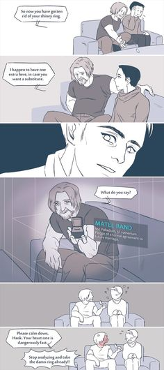 Read Imágenes Parte 1 from the story Imágenes Hannor (Hank x Connor) by CandyHeroe with reads. Dc Comics, Detroit Become Human Connor, Becoming Human, Drawing Reference Poses, Human Art, Father And Son, Cyber, Chibi, Geek Stuff