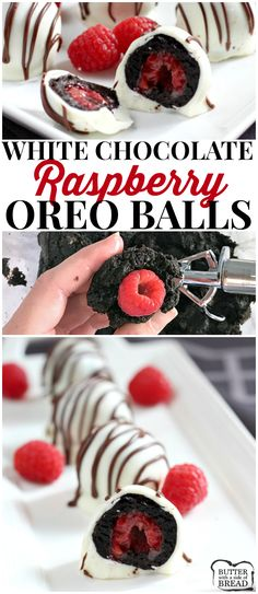 White Chocolate Raspberry Oreo Balls are a delicious no-bake treat made with Oreo cookies, cream cheese and a raspberry in the middle! The Oreo Balls are dipped in a white chocolate candy coating and coated with a chocolate drizzle. #oreoballs #oreos #raspberry #truffles #yummy BUTTER WITH A SIDE OF BREAD