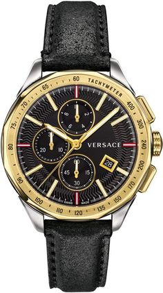 Versace Glaze Chronograph Leather Strap Watch 566f3d39401