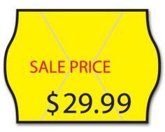 2-Line Sale Price Label - Monarch. Draw attention to merchandise with high-contrast Sale Price label.  Low-cost label works smoothly with Monarch label makers for fast, easy pricing  Label Size: 13/16 x 5/8  Quantity discounts built into pricing.
