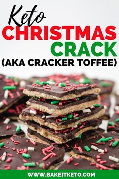 The Keto Christmas Crack recipe (aka Cracker Toffee) is here! The perfect low carb keto toffee bark candy recipe for any party. A delicious keto treat for yourself or to give as a holiday gift! Christmas Crack, Christmas Desserts, Christmas Recipes, Holiday Recipes, Christmas Cooking, Holiday Treats, Christmas Christmas, Recipes Dinner, Lunch Recipes
