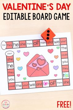 Literacy Activities for Kids Editable Valentine's Day board game for math and literacy centers. Valentines Day Words, Valentines Games, Printable Activities For Kids, Valentines Day Activities, Valentine Theme, Valentines Flowers, Valentine Nails, Children Activities, Free Printables