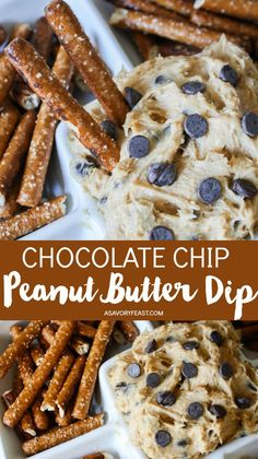 Chocolate Chip Peanut Butter Dip Need a quick party appetizer? Chocolate Chip Peanut Butter Dip is sure to please! Made with just a few ingredients that you probably have on hand this dip is great served with pretzels graham crackers or vanilla wafers! Dessert Party, Dessert Dips, Party Desserts, Appetizers For Party, Dessert Recipes, Quick Appetizers, Easy Party Snacks, Quick Party Food, Best Party Food