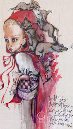 """Herakut - Street Art - """"Nicht jeder wolf ist böse. (wir sind oft nur zu faul oder zu feige, um das zu erkennen)"""" - 2014"""