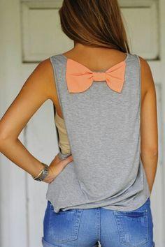 Sitting Pretty Bow Top: Grey/Peach...simple tank with a pop of fun! #shophopes