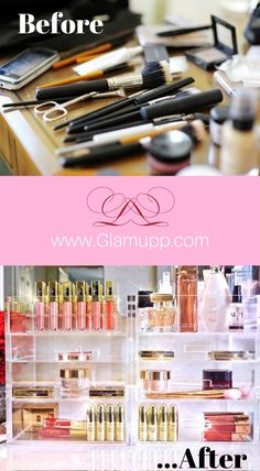 From messy to pristine. Where do you want to do your makeup? Makeup Storage, Makeup Organization, Makeup Videos, Makeup Tips, Diy Vanity Table, Beauty Case, Women Lifestyle, Facial Oil, Makeup Brands