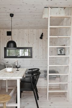 For the Love of Wooden Cabins Slow Design, Concrete Bathroom, Wooden Cabins, Compact Living, Wood Detail, Raw Wood, Ladder Bookcase, House Goals, Light Shades