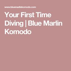 Your First Time Diving | Blue Marlin Komodo