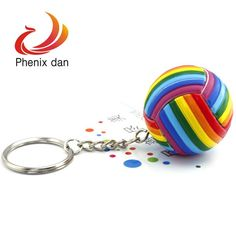 1.5''  5pcs/lot   7 color tone volleyball design charm keychain ring for keys decoration NEW-in Key Chains from Apparel & Accessories on Aliexpress.com