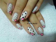 White black polka dots pink hearts nail design