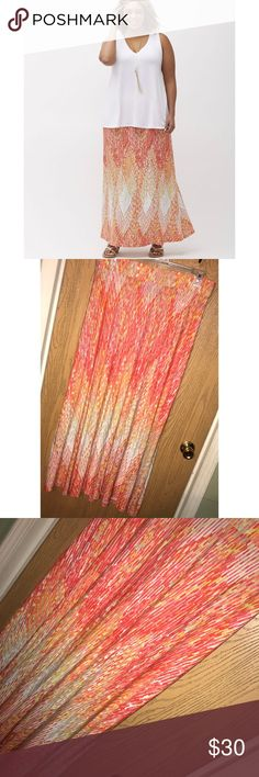"Orange printed maxi skirt Super pretty orange print maxi skirt.  ❗️Please no low ball offers.❗️ ❗️Bundles always get a discount.❗️ Condition: Great, used  Measurements- Total length:  43"" Flat across the waist: 18.5"" unstretched   Smoke free home but I have a small dog.  Thanks for checking out my closet! ❤️ Lane Bryant Skirts"