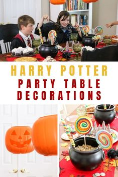 The best, most fun and easiest Harry Potter table decorations for a memorable party event. These ideas will bring smiles to all your muggle friends. Halloween Snacks, Halloween Cupcakes, Cute Halloween, Holidays Halloween, Craft Projects For Adults, Easy Diy Projects, Party Table Decorations, Halloween Decorations, Harry Potter Table