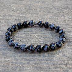 Bracelets - Warrior, Genuine Obsydian Gemstone Mala Bracelet