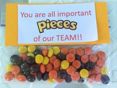 Volleyball team spirit gifts - note on box of Candy Softball Gifts, Cheerleading Gifts, Cheer Gifts, Cheer Mom, Dance Team Gifts, Basketball Gifts, Softball Goodie Bags, Cheer Treats, Swim Team Gifts