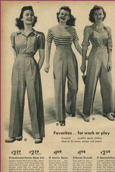ladies trouser styles from Sears Vintage Catalog. Fashion/ Style ladies trouser styles from Sears Vintage Catalog. Fashion Foto, Fashion History, Diy Fashion, Retro Fashion, Ideias Fashion, Vintage Fashion, 1940s Fashion Women, Fashion Pants, Work Fashion