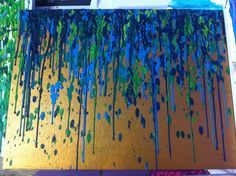 Peacock Wax Crayon Canvas Art by MHBobsledder on Etsy. This is okay but I would actually prefer it as a painting rather than crayon art. Crayon Canvas Art, Diy Canvas, Wax Crayons, Melting Crayons, Diy Wall Art, Diy Art, Peacock Art, Peacock Canvas, Art Decor