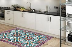 Pattern rug -model tile002suitable for kitchen, bathroom, entrance, garden / Floor & Rugs / kitchen floor mat/ kitchen mat/ tile rug by Printip on Etsy