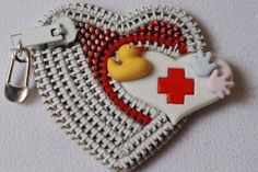 Baby Nurse  Red and White Vintage Zipper Lapel by ZipperedHeart