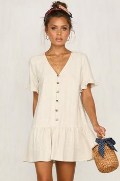 Anything Once Dress (Beige) Comfy Dresses, Cute Summer Dresses, Casual Dresses, Casual Outfits, Short Dresses, Black Dress Outfits, Spring Outfits, Boho Fashion, Fashion Outfits