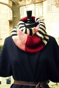 Lagelle's colorblock and stripes infinity scarf