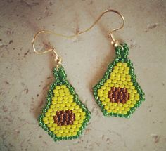 The Beaded Avocado Earrings are adorable conversation pieces and a great way to learn how to brick stitch.