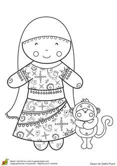 Une poupée orientale à colorier avec les couleurs des mille et une nuits