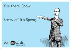 You there, Snow! Screw off, It's Spring!   NOT FUNNY!!