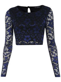 Contrast Lace Crop Top -  Has use of lace and tight fitting and use of dark color by The Style Genome Project