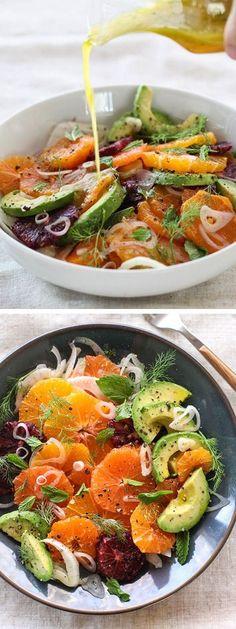 Orangen, Grapefruith, Avocado, Fenchel Salat mit Champagne Vinaigrette , bekömmlich und leicht für den warmen Sommerabend
