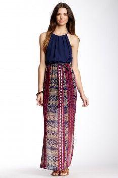 As U Wish As U Wish Solid & Print Halter Maxi Dress