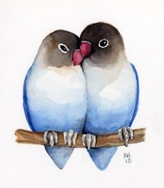 Lovebirds watercolor 코리아바카라 www.NOTA99.COM 코리아카지노