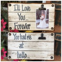 PHOTO HOLDER I'll Love You Forever Picture Wall Frame Reclaimed Sign with Clip Cream Wood Baby Shower Gift for Home *Mother's Day *Father's Day