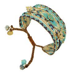 Bracelet manchette perles Melange et pendentifs (bleu), Fusion blue Mishky - Bijoux Fantaisie Créateurs