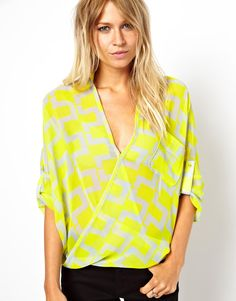 wow. nice color. Love this - super surprising. ASOS Blouse with Wrap Front in Bright Geo Print
