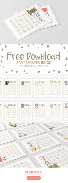 Woodland Animals Baby Shower Bingo Free Download. Print this adorable set of bingo cards and tiles for a little fun at your forest-themed baby shower. #goodnightfox #babyshower #bingo