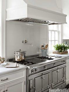 white kitchen + la cornue range / samantha lyman in house beautiful