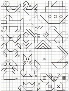 "May: Math ""May""hem ~ Spring Math Printables Color By Codes Graph Paper Drawings, Graph Paper Art, Easy Drawings, Blackwork Patterns, Blackwork Embroidery, Cross Stitch Patterns, Drawing For Kids, Art For Kids, Geometric Drawing"
