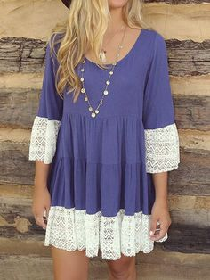 Pretty lace trim dress.