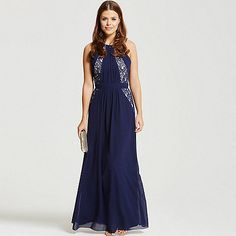 Laced in love blue embellished panel maxi dress