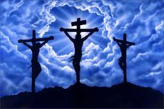 Good Friday - Calvary, clouds, cross, crucifiction, Good Friday, Jesus, sky blue, thieves, three