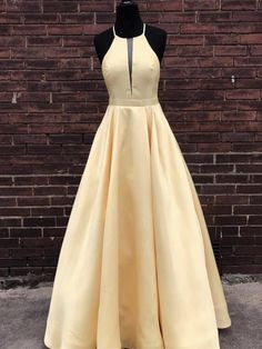 Simple Halter Yellow Satin Long Prom Dresses 2019, Yellow Formal Dresses Long Evening Dresses, BW969 on Luulla A Line Prom Dresses, Formal Evening Dresses, Evening Gowns, Evening Party, Elegant Dresses, Yellow Formal Dress, Chiffon, Mellow Yellow, Blue Green