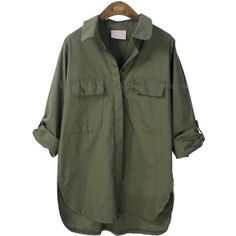 Army Green Lapel Batwing Long Sleeve Pocket Shirt