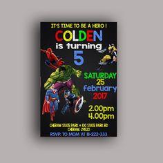 Superhero Avengers Birthday Party Card Digital Invitation